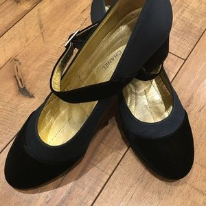 Chanel Vintage Navy Satin / Velvet Mary Jane Sz 41